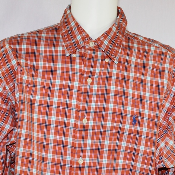 Ralph Lauren Classic Fit Mens XXL Orange Plaid